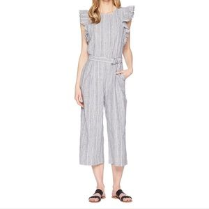 Vince Camuto Ruffle Sleeve Striped Jumpsuit sz Sm